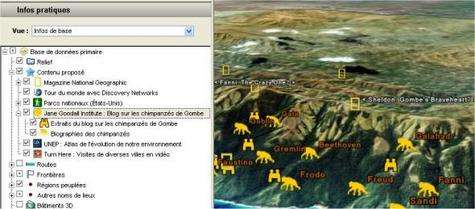 Des marques supplémentaires apparaissent désormais dans Google Earth pour pointer des sites sur lesquels on peut afficher des informations portant sur les atteintes à l'environnement. Ici, les chimpanzés de Jane Goodall, en Tanzanie.
