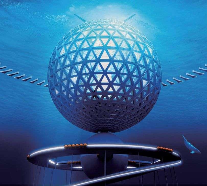 L'entreprise japonais Shimizu a étudié la possibilité de faire vivre une communauté humaine en pleine mer. Son projet Ocean Spiral prévoit une sphère de 500 m de diamètre, constituée d'une trame de béton et de panneaux transparents, qui abrite des appartements, des hôtels, des bureaux et des laboratoires. Affleurant en surface, elle est ancrée au fond, entre 1.500 et 4.000 m, par l'intermédiaire d'une rampe hélicoïdale, maintenue par des câbles. D'énormes ballasts permettent de la faire émerger davantage, pour la maintenance, ou, à l'inverse, de l'enfoncer complètement sous la surface lorsqu'un cyclone est prévu. © Shimizu