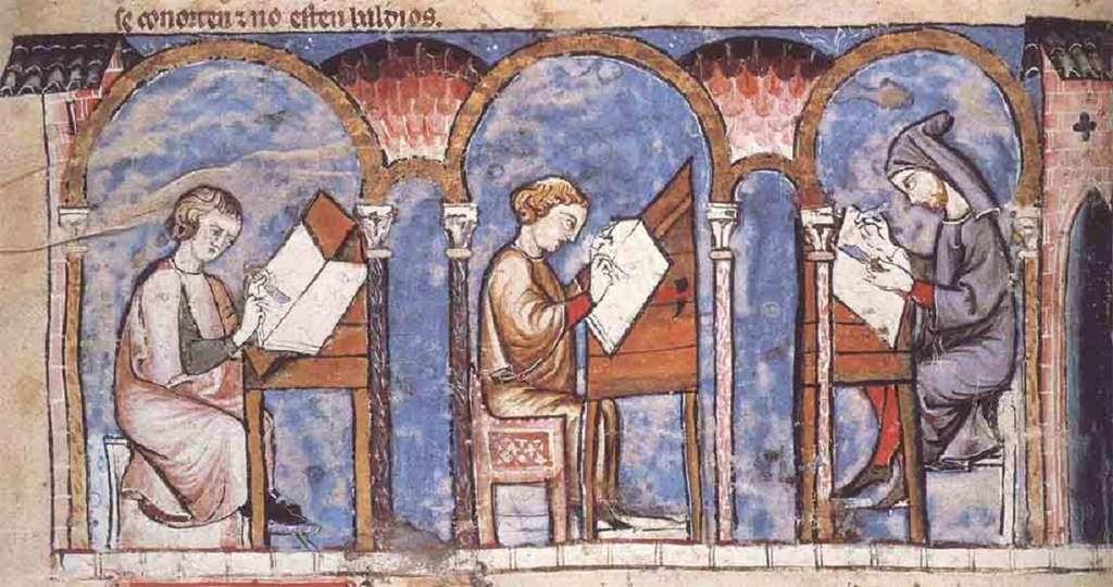 Moines copistes dans un scriptorium, extrait du Livre des jeux, XIIIe siècle. Bibliothèque de l'Escurial, Madrid. © Wikimedia Commons, domaine public