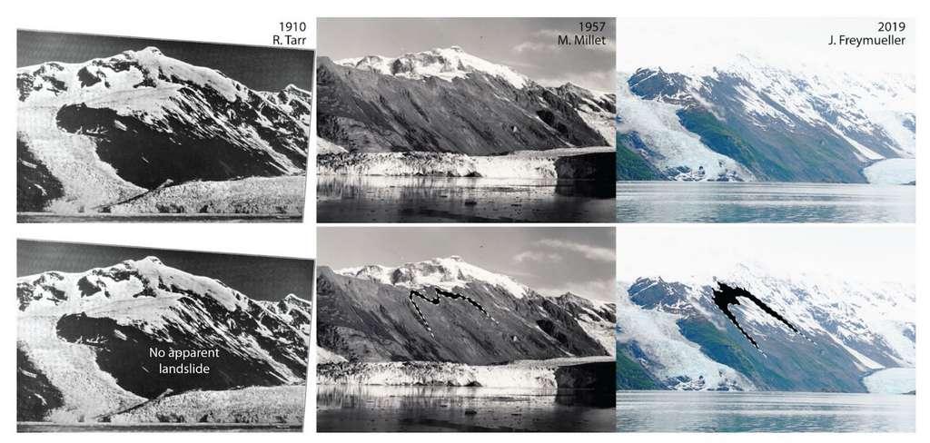Le glissement de terrain visible sur les pentes du glacier Barry entre 2009 et 2015. © R. Tarr, M. Millet, J. Freymueller