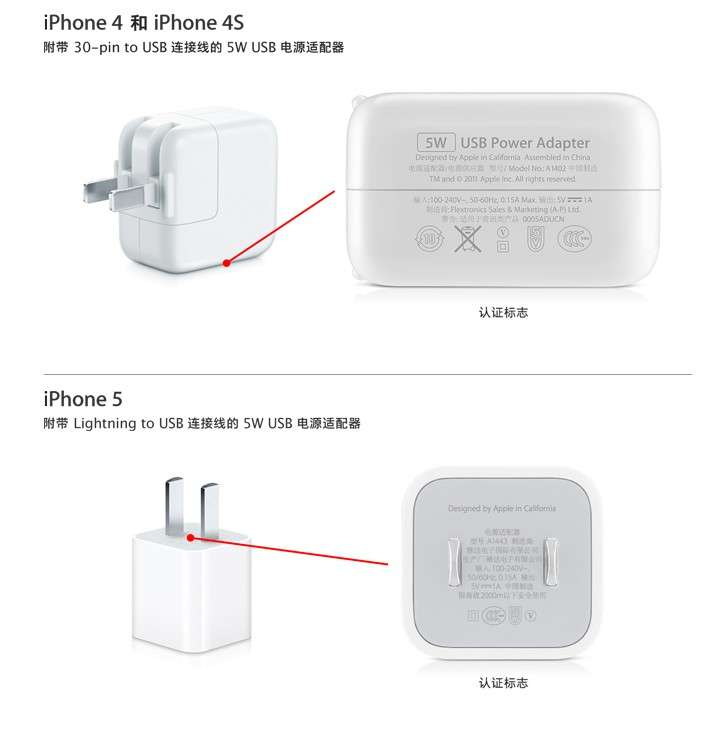 Sur son site officiel chinois, Apple montre les différents modèles d'adaptateurs secteur d'origine qu'il recommande d'utiliser avec tous ses terminaux iOS. © Apple