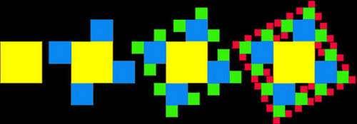 Carrés fractals. © Reproduction et utilisation interdites