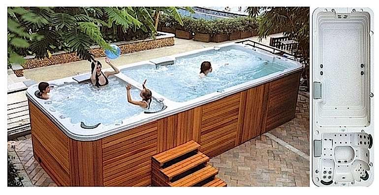 Spa de nage portable à bassins séparés. Cuve en acrylique. Dimensions ext. L. 580 x l. 230 x H. 134 cm. Habillage en red cedar. 4 pompes de massage, 1 blower, 1 pompe de filtration, 1 réchauffeur et 74 jets eau + air. Volume 14.800 litres. Poids à vide 1,2 tonne, plein 16 tonnes. Prix indiqué : 21.500 €/TTC. Ref. Sunny © spasdenage.com