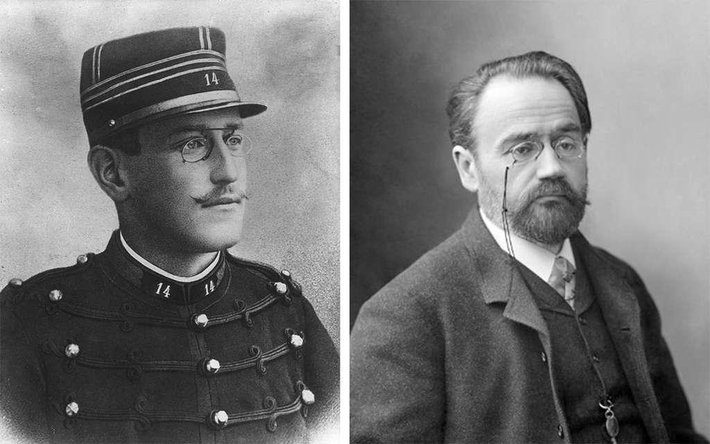 À gauche, Alfred Dreyfus, avant 1894. © Henri Roger-Viollet. Source Encyclopædia Britannica, DP. À droite, Zola, 1899. © Auteur inconnu, Wikimedia Commons, DP