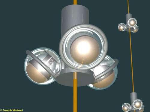 """Représentation en images virtuelles, d'un détail, d'un étage du détecteur sous-marin """"Antares"""", équipé de trois modules optiques. Ce télescope à neutrinos européen est installé par 2400 mètres de fond à 10 milles nautiques au sud de l'île de Porquerolles. Douze lignes de 400 mètres de long portant chacune 75 capteurs spéciaux (photomultiplicateurs) traqueront l'infime trace lumineuse laissée dans l'eau par un """"muon"""", particule chargée, issue de la rencontre rarissisme d'un atome de matière et d'un neutrino. Les chercheurs espèrent par ce procédé déduire la direction d'où proviennent les neutrinos. Une information qui permettrait d'en identifier la source : cataclysme cosmique ou matière nouvelle inconnue. © CNRS Photothèque/IN2P3 - Montanet François - Reproduction et utilisation interdites"""