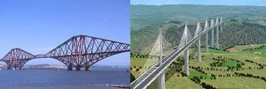 Un pont cantilever (à gauche) et le viaduc de Millau (à droite).