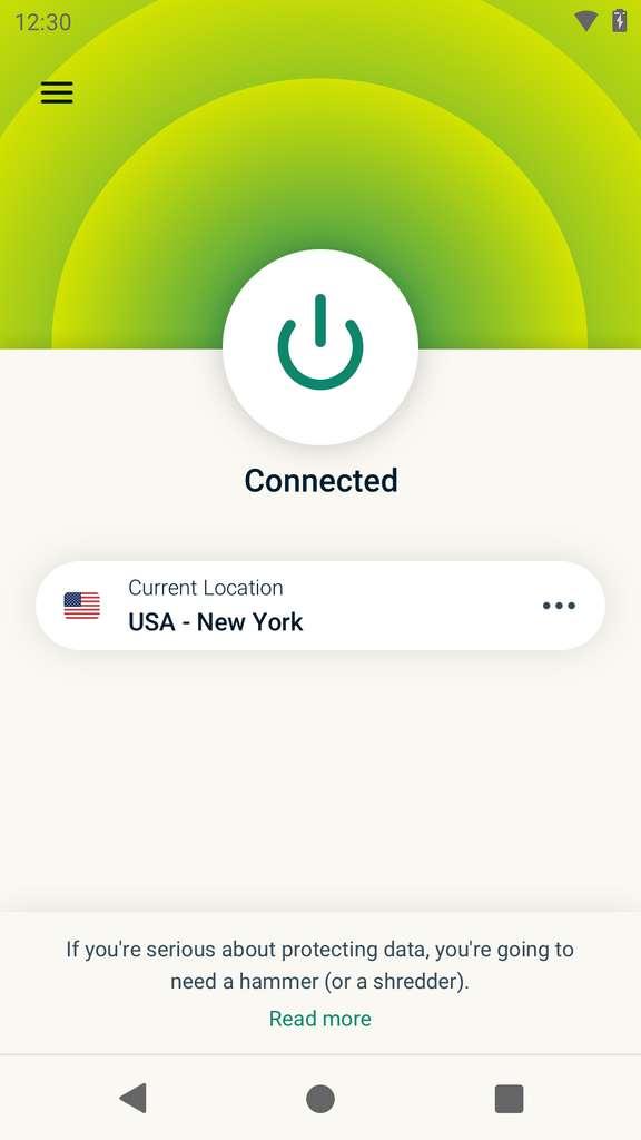 Aperçu de l'interface sur mobile pour ExpressVPN. © ExpressVPN