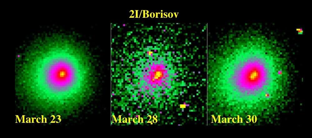 Les images continues du télescope spatial Hubble de l'objet interstellaire 2I/Borisov montrent un changement d'aspect distinct. © Jewitt et al. (2020)