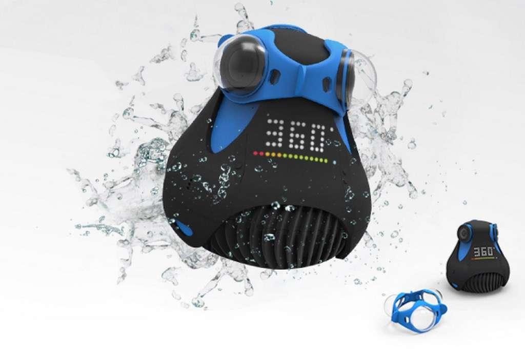 La 360cam est étanche jusqu'à dix mètres et peut filmer sous l'eau grâce à des lunettes spéciales (vendues en option). © Giroptic