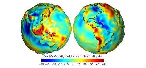 Représentation 3D des anomalies du géoïde terrestre. © Nasa