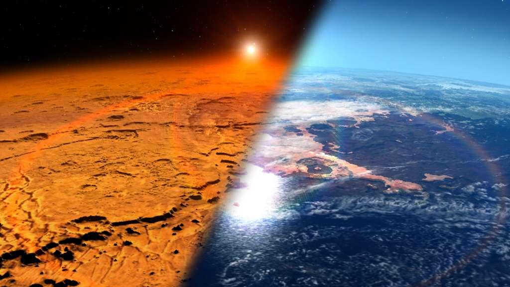 En perdant progressivement son atmosphère, dense au début de sa formation, Mars est devenue une planète désertique et froide (à gauche) alors qu'elle était chaude et humide (à droite). © Nasa