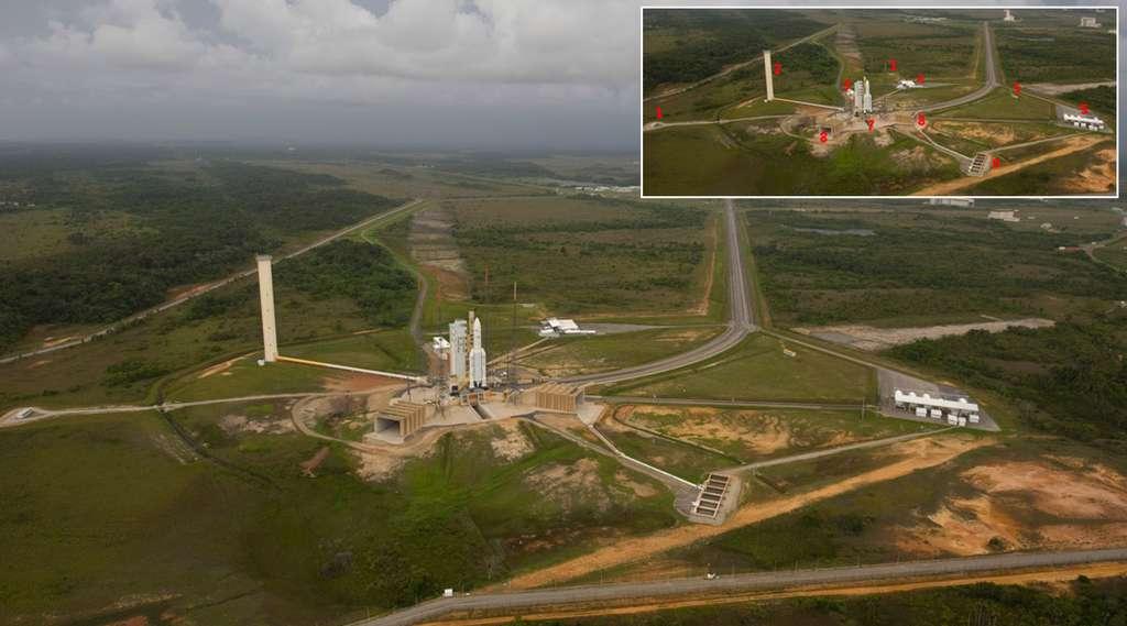 Vue générale du site de lancement d'Ariane 5, près de la ville de Kourou, en Guyane. © S. Corvaja, Rémy Decourt, Esa