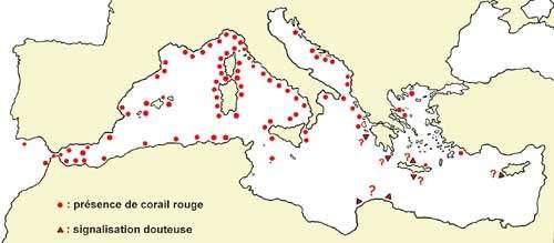 Figure 5 : distribution géographique du corail rouge en Méditerranée et en Atlantique, aux abords du détroit de Gibraltar. © J.-G. Harmelin, tous droits réservés, reproduction et utilisation interdites