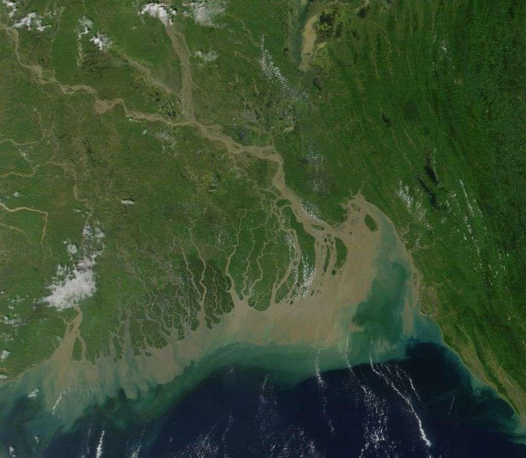 Delta du Gange, le plus grand au monde. Les sédiments déposés dans l'océan à l'embouchure du fleuve sont bien visibles. © Nasa, Wikimedia Commons, domaine public