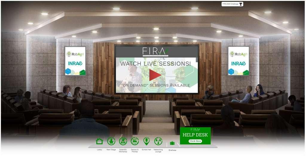 Les colloques scientifiques ont leur espace dédié. Comme indiqué sur l'écran principal, toutes les vidéos diffusées lors de Fira 2020 seront disponibles à la demande, et ce, jusqu'en juin 2021 ! © Fira 2020