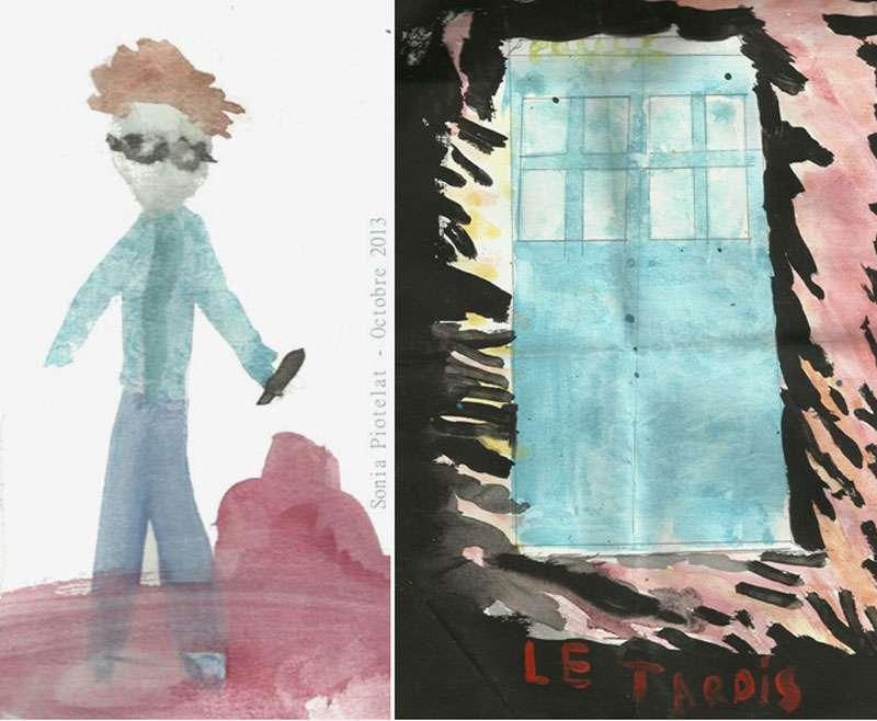 Vue d'artiste du Docteur de la série Doctor Who et de son vaisseau, le Tardis. © Dessin : Sonia Piotelat (11 ans)