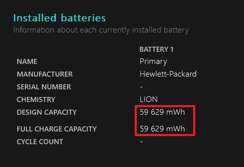 Consultez les informations concernant la capacité de votre batterie. © Microsoft