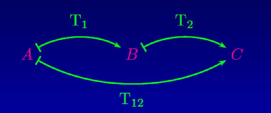 L'application T1 transforme A en B, T2 fait de même avec B en C, et la composition permet de passer de A à C. © Amaury Mouchet