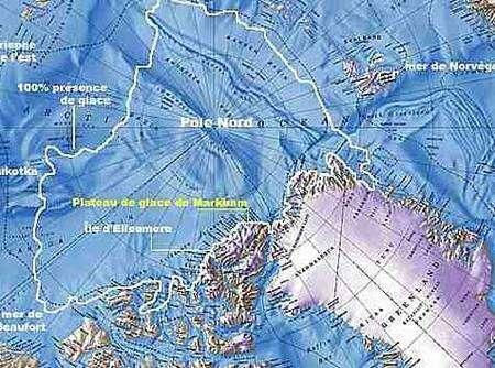 Le plateau de glace de Markham et l'île d'Ellesmere, en bordure de la calotte polaire (contour blanc). Crédit Centre d'Etudes Nordiques
