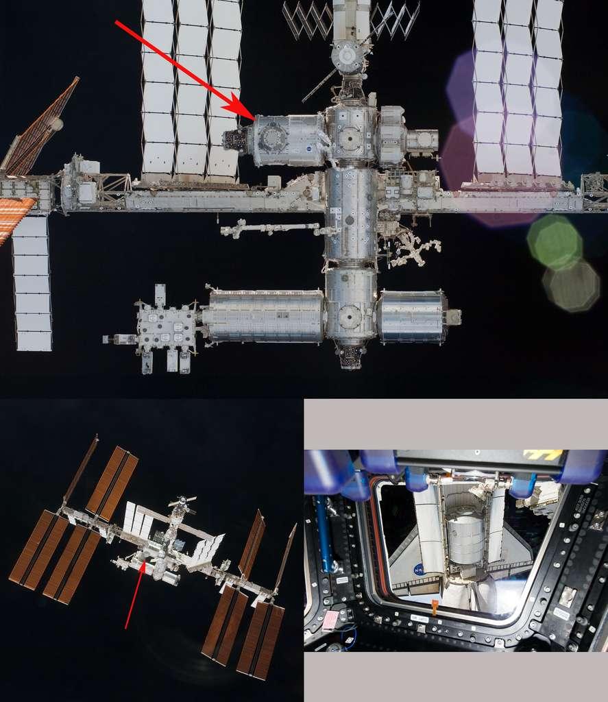 La coupole vue depuis la navette Endeavour, en vol pour retourner sur Terre (février 2010), après l'avoir livrée (STS130, février 2010). À droite, depuis l'intérieur de la coupole, un astronaute photographie la navette Atlantis avec, dans sa soute, le module logistique Raffaello, lors de la toute dernière mission d'une navette (STS135, juillet 2011). © Nasa