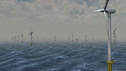 Les sources d'énergie non fossiles (ici, en vue d'artiste, un champ d'éoliennes offshore), se développent mais leur intermittence pose problème. Par ailleurs, la multiplication des appareils consommateurs d'électricité, en particulier si les véhicules électriques se répandent, entraînera des pics de production plus nombreux. Entre les deux, un peu d'intelligence dans le réseau devrait faciliter les choses. © Statkraft, CC by-nc-nd 2.0