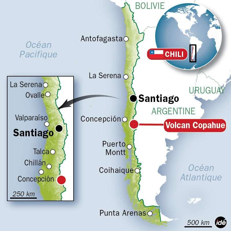 Le volcan Copahue se situe au sud de la ville de Concepción au Chili. Il est exactement à la frontière entre l'Argentine et le Chili. © Idé