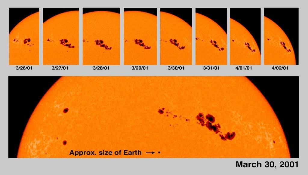 Le 30 mars 2001, le Soleil arborait à sa surface la plus grande tache sombre jamais observée. À cette période, notre étoile était proche du maximum du cycle d'activité 23. © ESA, Nasa, Soho