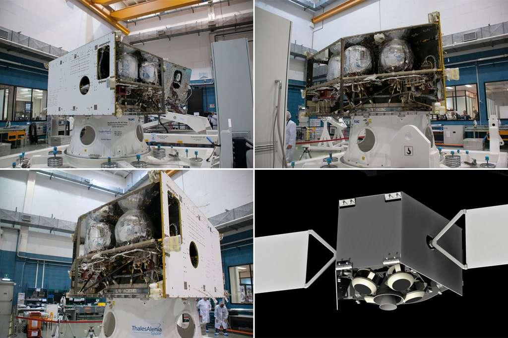 Le module de transfert (MTM pour Mercury Transfer Module), utilisé pour propulser le vaisseau pendant six ans et demi par le biais de la propulsion électrique vu dans l'usine de Thales à Cannes (juillet 2014). © Rémy Decourt