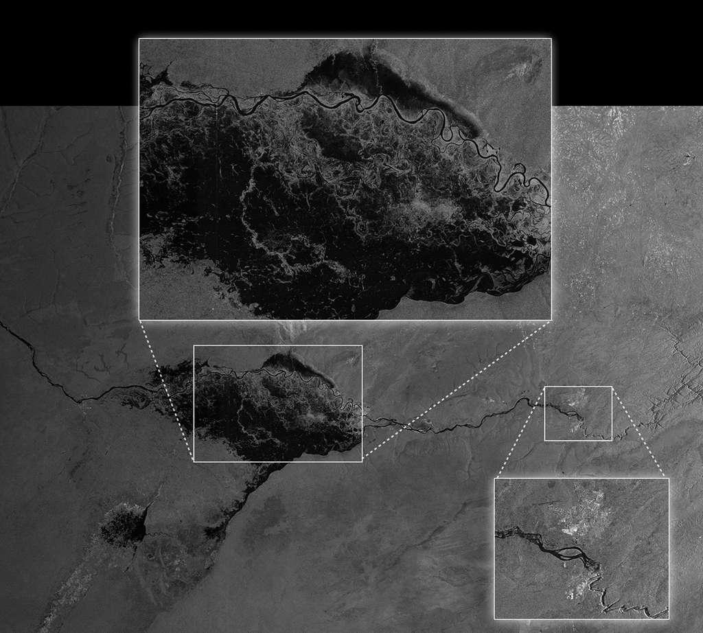 Acquise le 13 avril dernier, cette image montre l'étendue des inondations dans la plaine de Caprivi, causée par la rivière Zambezi, en Namibie. Elle montre l'état des zones inondées et donne des informations sur les niveaux de l'eau (hauteur) à de multiple endroits. © Esa