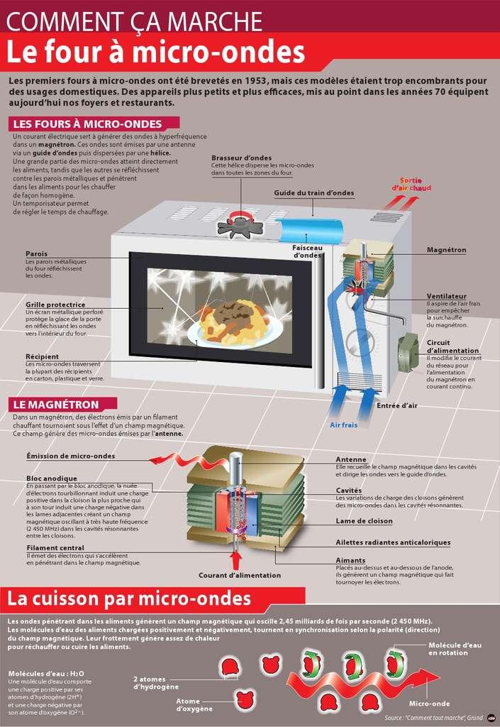 Cette infographie regroupe tous les éléments nécessaires pour comprendre le principe de fonctionnement du four à micro-ondes, un appareil toujours bien pratique. © Idé