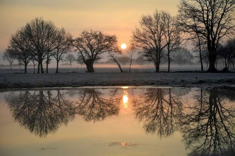 Lever de soleil sur la campagne givrée près de Lavau-sur-Loire (ouest de la France), le 21 janvier 2019. © Loïc Venance, AFP, Archives