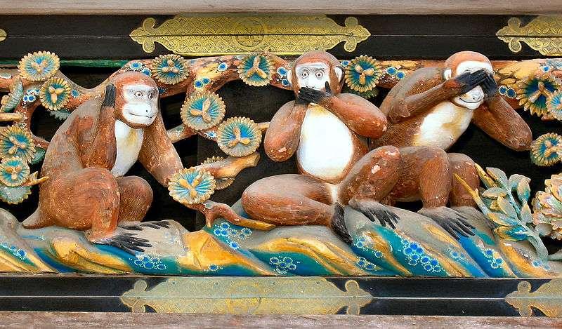 Les trois singes de Tosho-gu Shrine au sanctuaire de Nikko. © MichaelMaggs, CC by-SA 2.5