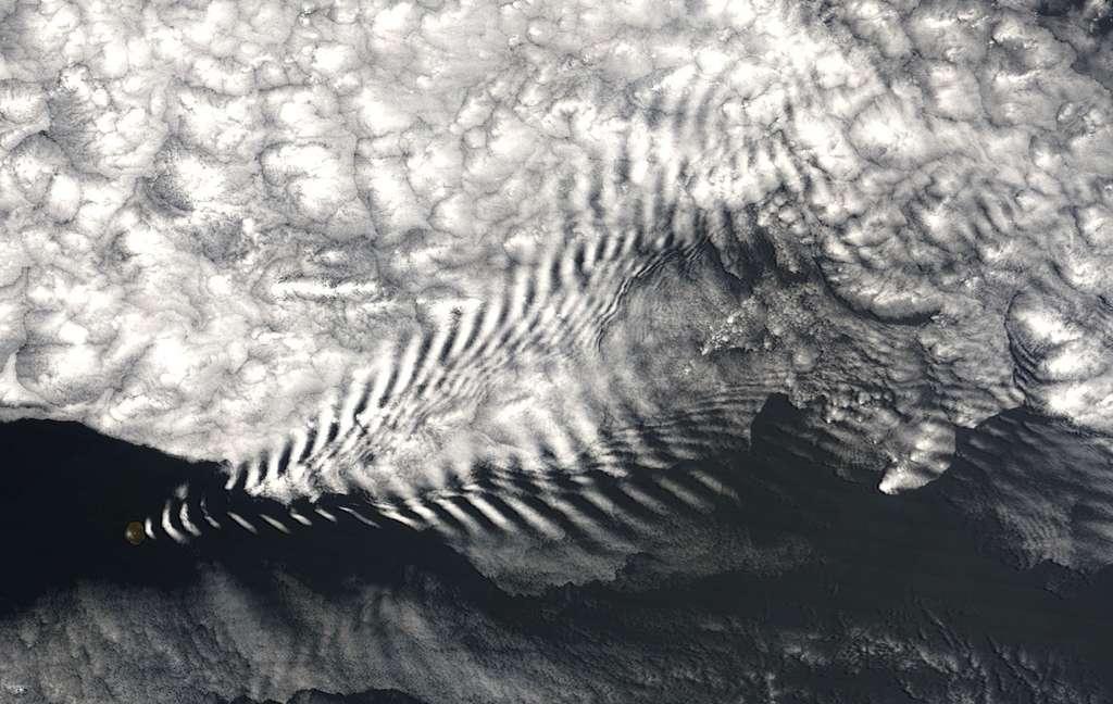 Motif nuageux formé par les ondes de gravité en aval de l'île Amsterdam, une île volcanique de l'océan Indien © Wikipédia, DP