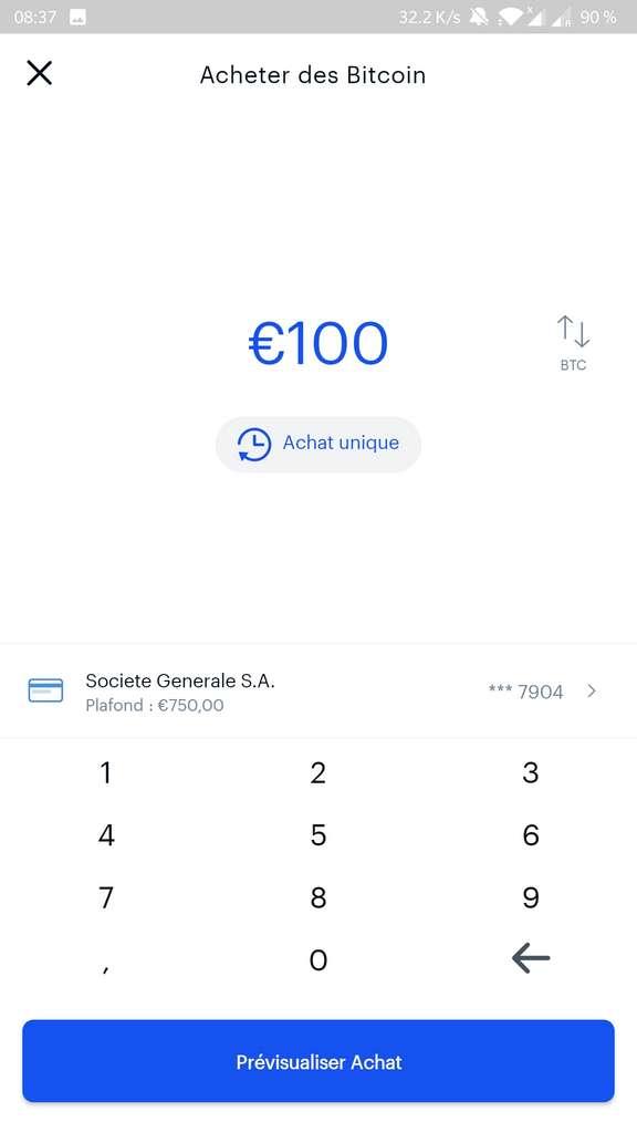 Une fois le moyen de paiement enregistré, on peut acheter des bitcoins en définissant simplement un montant en euro. © Coinbase