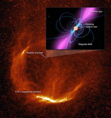 Le télescope Fermi a découvert le premier pulsar grâce à son émission gamma. Le pulsar (ici en médaillon) se trouve dans le vestige de supernova CTA 1 dans la constellation de Céphée. Crédit : Nasa-CNRS