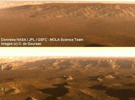 Valles Marineris, canyon martien. © Données Nasa/GSFC/Mola Science Team / Images O. de Goursac