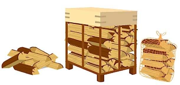 Bois-énergie : le bois bûche se vend en vrac, sur palettes ou en filets. © bretagne-energie.fr
