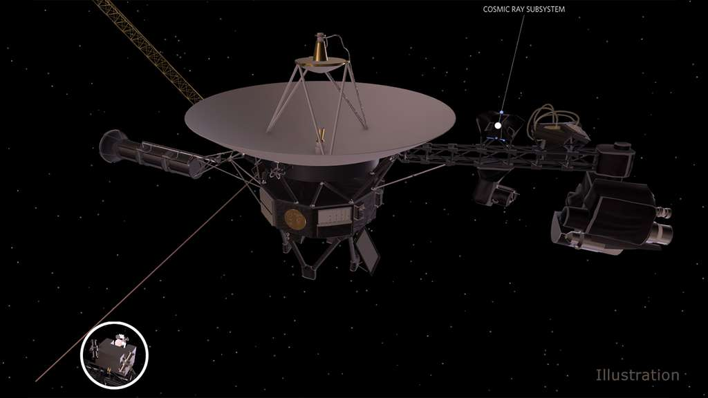 Illustration de la sonde Voyager 2 avec l'emplacement de l'instrument CRS. © Nasa, JPL-Caltech
