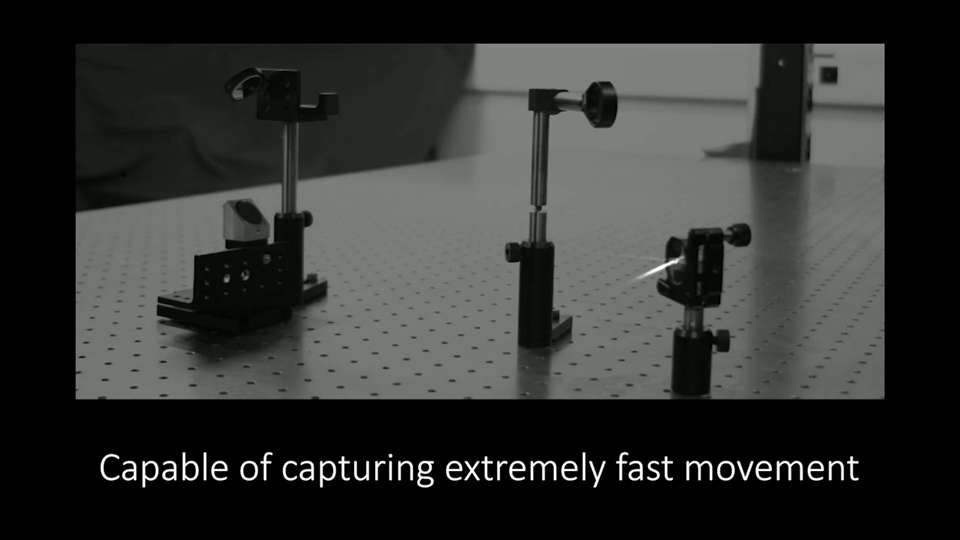 Le capteur Spad a pu filmer le déplacement de la lumière à travers de la fumée (voir l'article de Canon pour la vidéo). © Canon