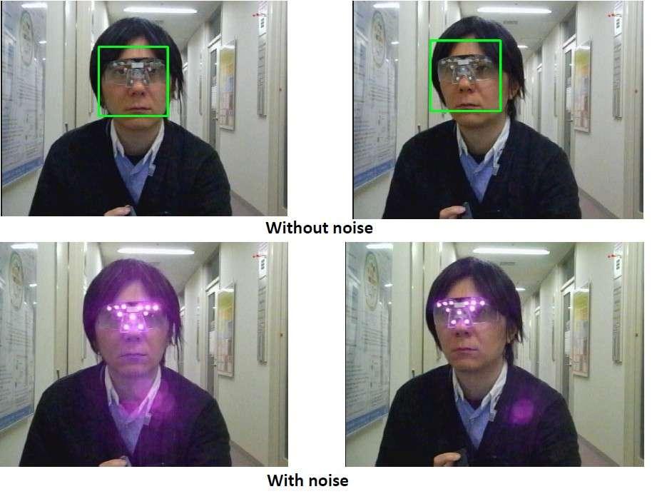 Le professeur Isao Echizen essaie la paire de lunettes équipée de Led à infrarouge proche. En haut, le système est désactivé et la reconnaissance faciale cadre le visage du chercheur. En bas, les Led sont allumées et provoquent un bruit lumineux qui bloque le système de détection. Cette lumière n'est pas visible par l'œil humain, mais elle est captée par certains appareils photo. © National Institute of Informatics, université Kogakuin