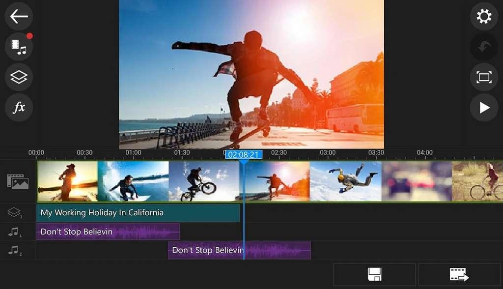 PowerDirector offre une interface proche de celle d'un logiciel de bureau, avec une timeline dans laquelle on dépose manuellement les clips vidéo et les musiques. © Groupe Cyberlink.