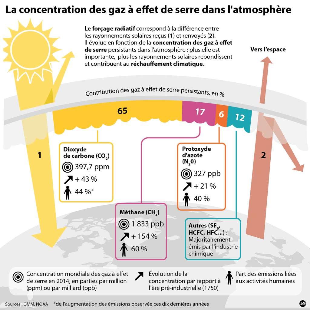 Le dioxyde de carbone est le principal gaz à effet de serre influençant le climat, devant le méthane et le protoxyde d'azote. © idé