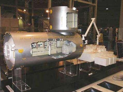 L'ambitieux laboratoire scientifique japonais destiné à l'ISS. Un module qui ne pourra être envoyé que lorsque la navette spatiale reprendra le chemin de l'espace. © Espace Magazine