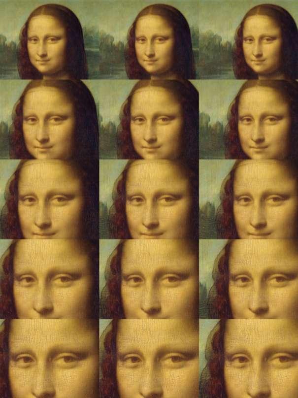 Le zoom le plus large (30 %, en haut) et le plus étroit (70 %, en bas) des sections de l'image de La Joconde utilisées comme stimuli dans les expériences mises en œuvre par les chercheurs de l'université de Bielefeld (Allemagne). © Gernot Horstmann, Université de Bielefeld