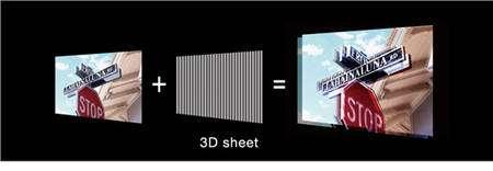 L'imprimante ajoute sur le papier une trame de lignes parallèle faites d'une encre épaisse puis inscrit chaque image en la répartissant sur les flancs, soit gauches soit droits, de ces traces, restituant une sensation de relief. © Fujifilm