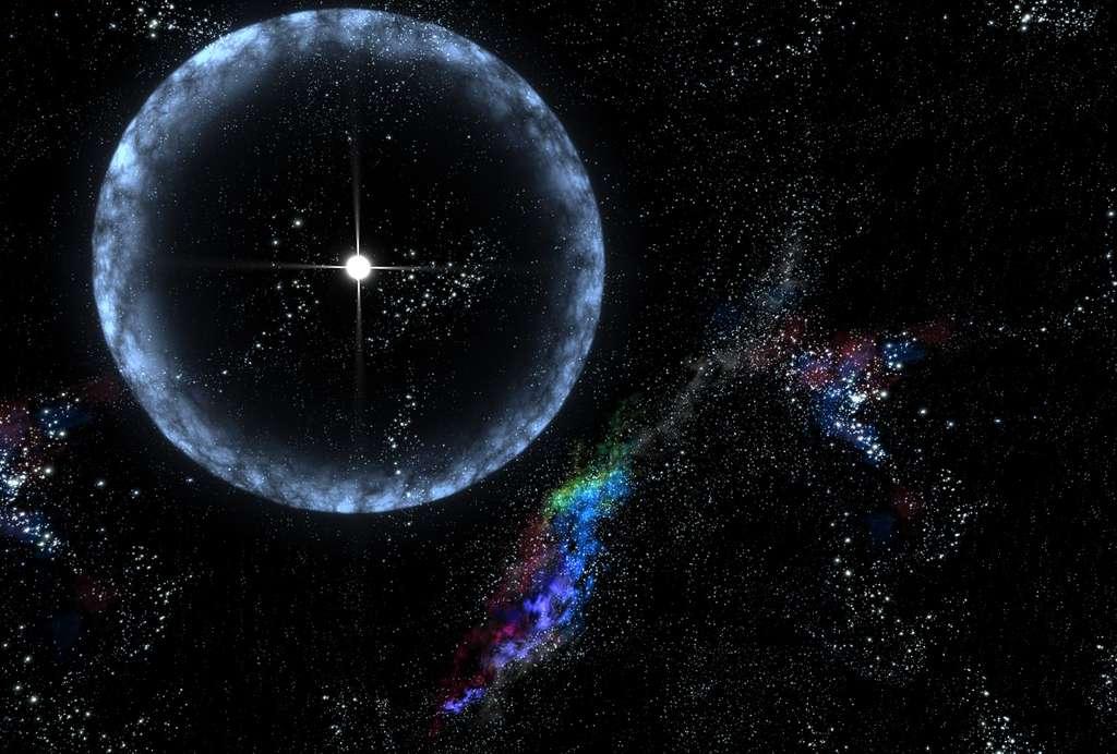 Une vue d'artiste montrant une bulle de lumière d'un sursaut gamma. Le flash est ici émis par un magnétar. © Nasa