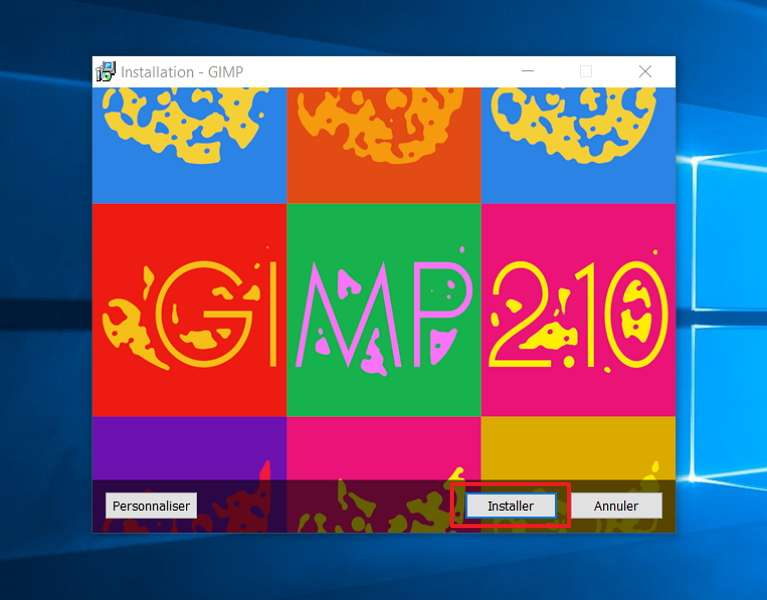 Cliquez sur « Installer ». © The GIMP Team