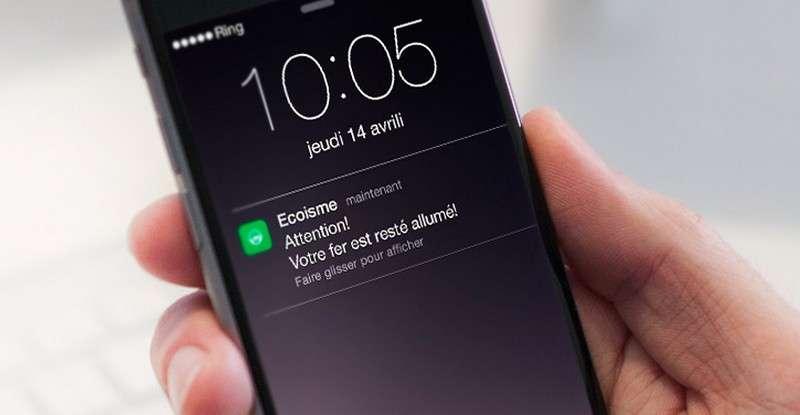 Outre la surveillance de la consommation, Ecoisme est capable de détecter une utilisation anormalement longue d'un appareil électrique et d'en informer l'utilisateur par une notification sur son smartphone. © Ecoisme