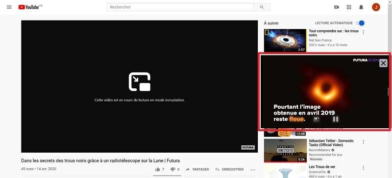 La vidéo est lue seulement dans la fenêtre flottante. © Google