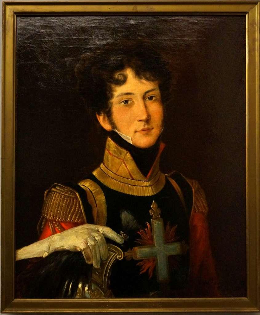 Mousquetaire en uniforme de la première compagnie, en 1815 (anonyme). Musée de l'Armée, Hôtel des Invalides. © RMN-Grand Palais, Thierry Ollivier